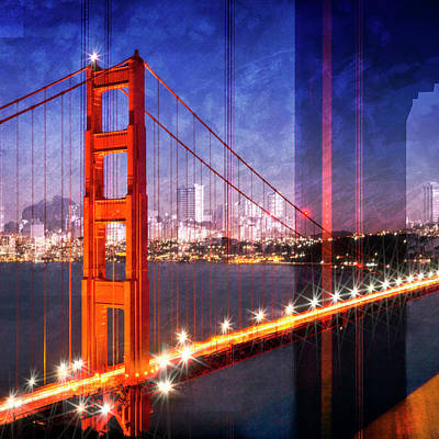Montage Mixed Media - City Art Golden Gate Bridge Composing by Melanie Viola