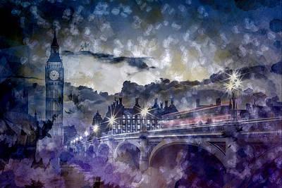 Old Town Digital Art - City-art London Westminster Bridge At Sunset by Melanie Viola
