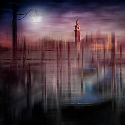Abstract Movement Photograph - City-art Venice Gondolas At Sunset by Melanie Viola