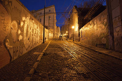 Funicular Photograph - City Of Lisbon By Night In Portugal by Artur Bogacki