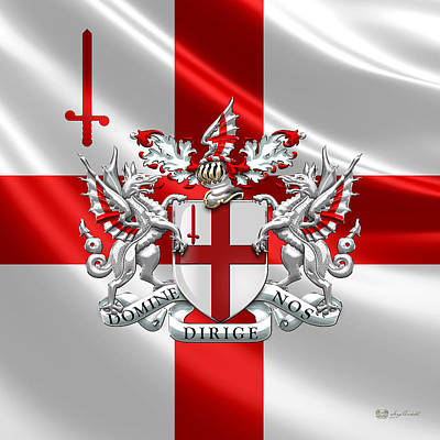 City Of London - Coat Of Arms Over Flag  Art Print by Serge Averbukh