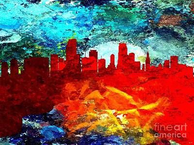 Miami Skyline Mixed Media - City Of Miami Grunge by Daniel Janda