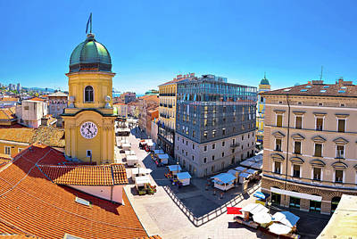 Photograph - City Of Rijeka Clock Tower And Central Square Panorama by Brch Photography