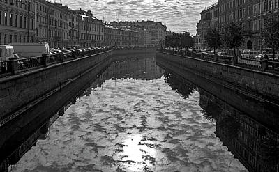 City Reflected In The Water Channels Art Print