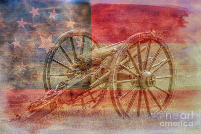 Digital Art - Civil War Cannon Rebel Flag by Randy Steele