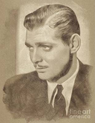 Musicians Drawings - Clark Gable, Vintage Hollywood Actor by John Springfield by John Springfield