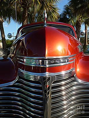 Classic Cars - 1941 Chevy Special Deluxe Business Coupe - Hood And Grille Art Print