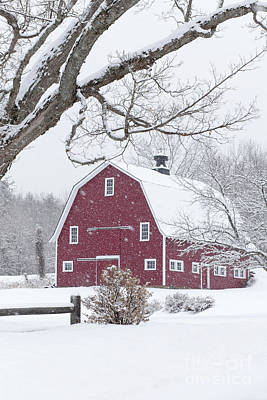 Photograph - Classic New England Red Barn In Winter by Edward Fielding