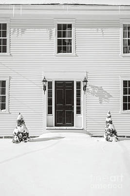 Classic New England Wood Framed Colonial Home In Winter Art Print