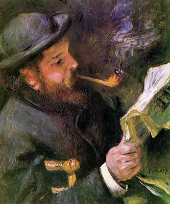 Pipe Painting - Claude Monet Reading by Pierre-Auguste Renoir