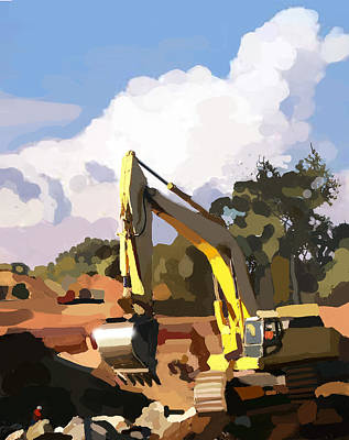 Concrete Painting - Claw And Loader by Brad Burns