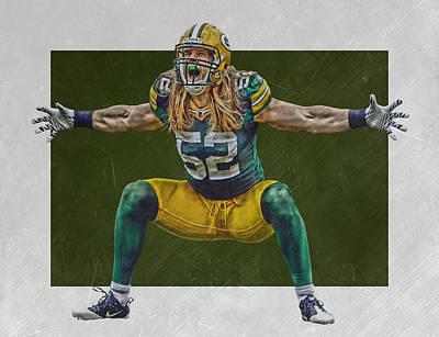 Mixed Media - Clay Matthews Green Bay Packers by Joe Hamilton