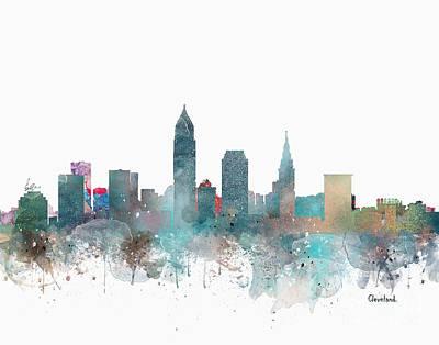 Ohio Painting - Cleveland Ohio Skyline by Bri B