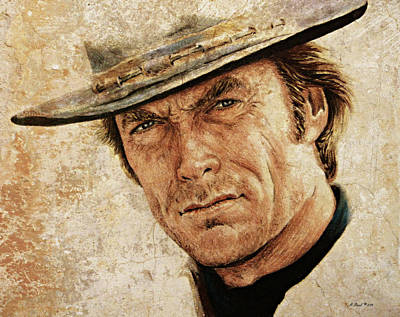 Icon Drawing - Clint Eastwood by Andrew Read