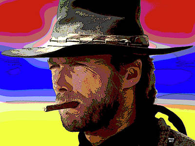 Mixed Media - Clint Eastwood by Charles Shoup