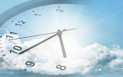 Digital Art - Clock In Sky by Les Cunliffe