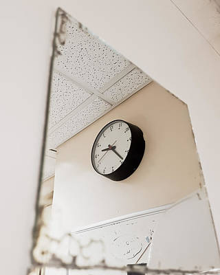 Faces And Places Photograph - Clock In The Mirror by Tom Gowanlock