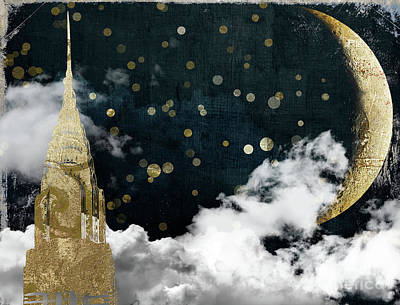 Big Moon Painting - Cloud Cities New York by Mindy Sommers