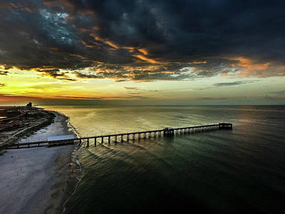 Photograph - Clouds Moving In Over Gulf State Pier by Michael Thomas