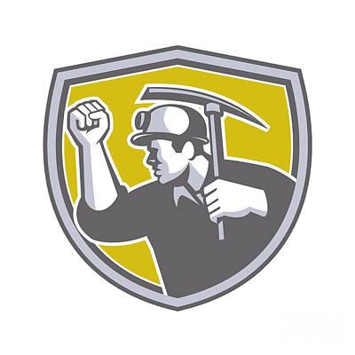 Pick Axe Digital Art - Coal Miner Clenched Fist Pick Axe Shield Retro by Aloysius Patrimonio