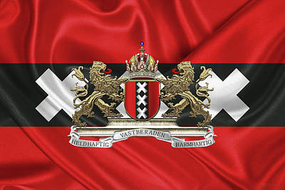 Coat Of Arms Of Amsterdam Over Flag Of Amsterdam Original