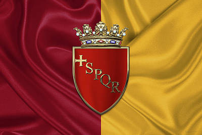 Coat Of Arms Of Rome Over Flag Of Rome Original