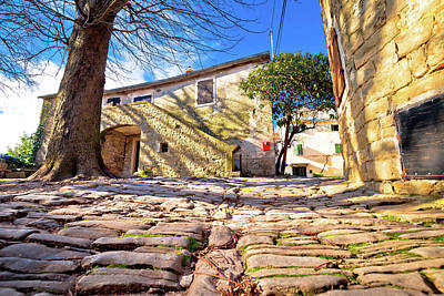 Photograph - Cobbled Village Of Groznjan On Istrian Hill Street View by Brch Photography