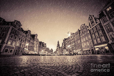 Charm Photograph - Cobblestone Historic Old Town In Rain At Night Wroclaw by Michal Bednarek