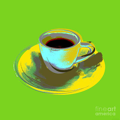Art Print featuring the digital art Coffee Cup Pop Art by Jean luc Comperat