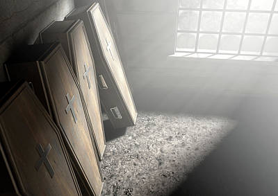 Dilapidated Digital Art - Coffin Row In A Room by Allan Swart