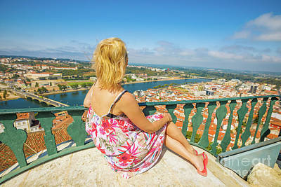 Photograph - Coimbra Cityscape Woman by Benny Marty