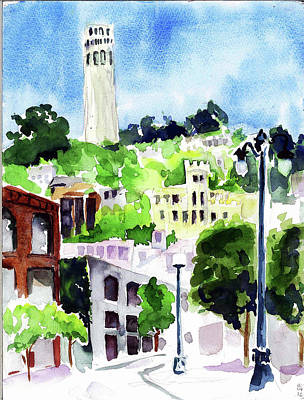Painting - Coit Tower From The Embarcadero by Tom Simmons