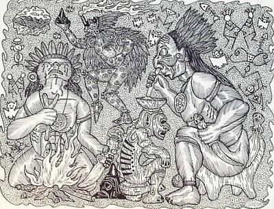 Taino Drawing - Cojoba by Jose Guerrido jr