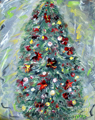Painting - Christmas Tree. Green by Oksana Semenchenko