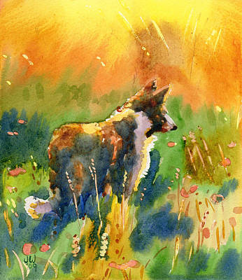 Painting - Collie In Meadow by June Walker