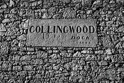 Collingwood Dock Nameplate In The Wall Liverpool Docks Dockland Uk Art Print by Joe Fox