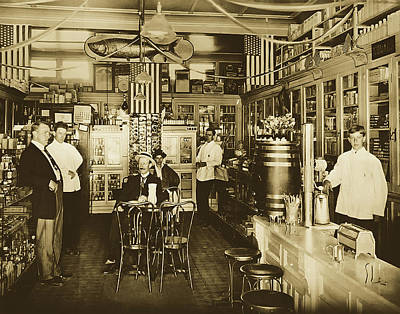 Photograph - Collin's Pharmacy - Islip, Long Island 1910 by Library Of Congress