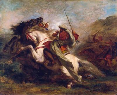 Horseback Painting - Collision Of Moorish Horsemen by Eugene Delacroix