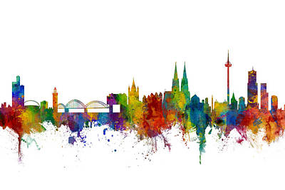 Cologne Digital Art - Cologne Germany Skyline by Michael Tompsett