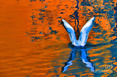 Painting - Color Abstract Gull Wings by Odon Czintos