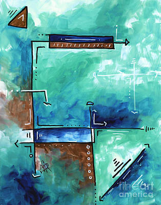 Colorful Abstract Pop Art Style Original Painting Sea Green Blues And Brown By Megan Duncanson Original by Megan Duncanson
