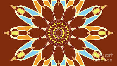 Orange And Brown Digital Art - Colorful Abstract Star On Brown Background by Pablo Franchi