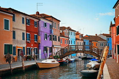 Photograph - Colorful Burano Canal by Songquan Deng