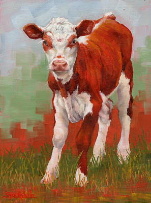 Painting - Colorful Calf by Margaret Stockdale