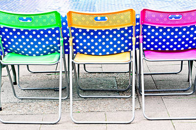 Colorful Chairs Art Print by Tom Gowanlock