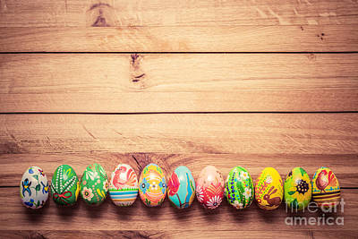 Celebration Photograph - Colorful Hand Painted Easter Eggs On Wood by Michal Bednarek