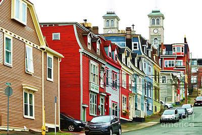 Digital Art - Colorful Houses In St. Johns In Newfoundland by Les Palenik