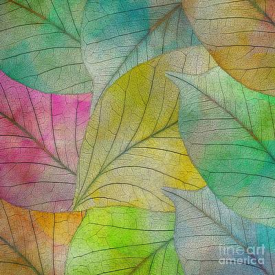 Art Print featuring the digital art Colorful Leaves by Klara Acel