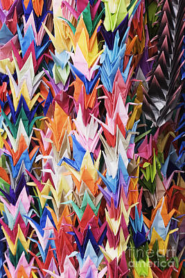 Handcrafted Photograph - Colorful Origami Cranes by Jeremy Woodhouse