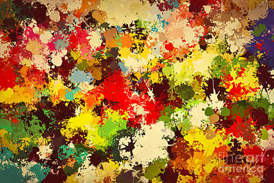 Spray Photograph - Colorful Paint Splashes Background by Michal Bednarek